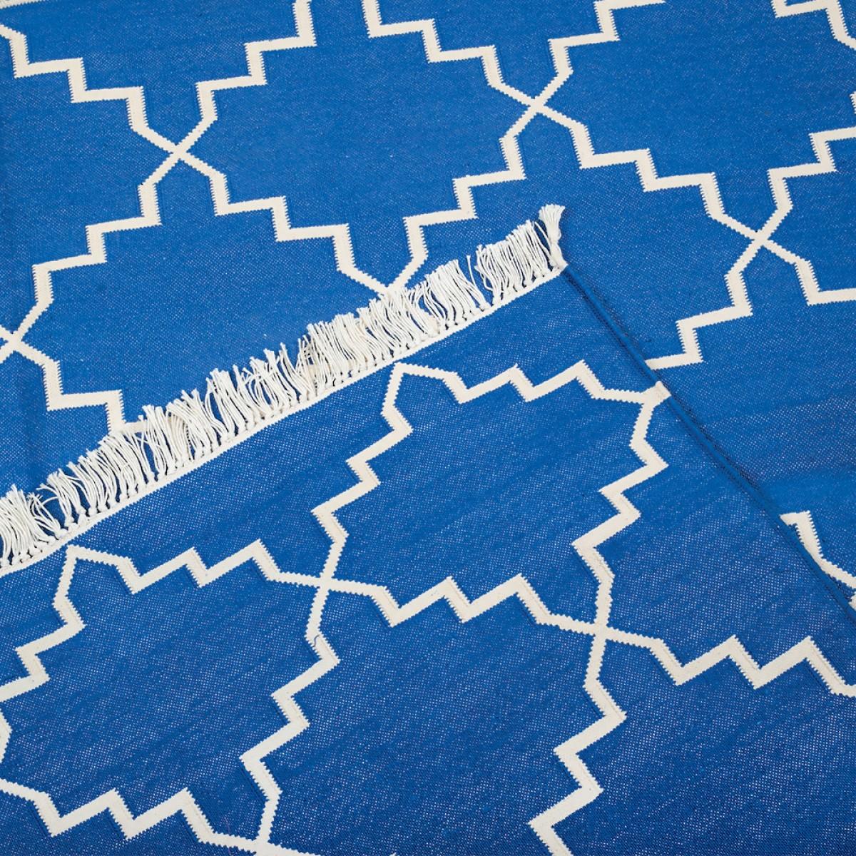 Cotton Floor Rugs - Blue & Zari