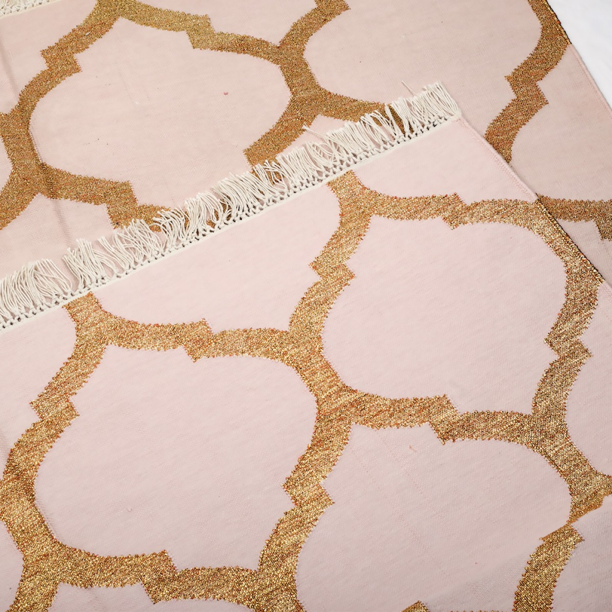 Cotton Floor Rugs - Baby Pink & Gold Zari
