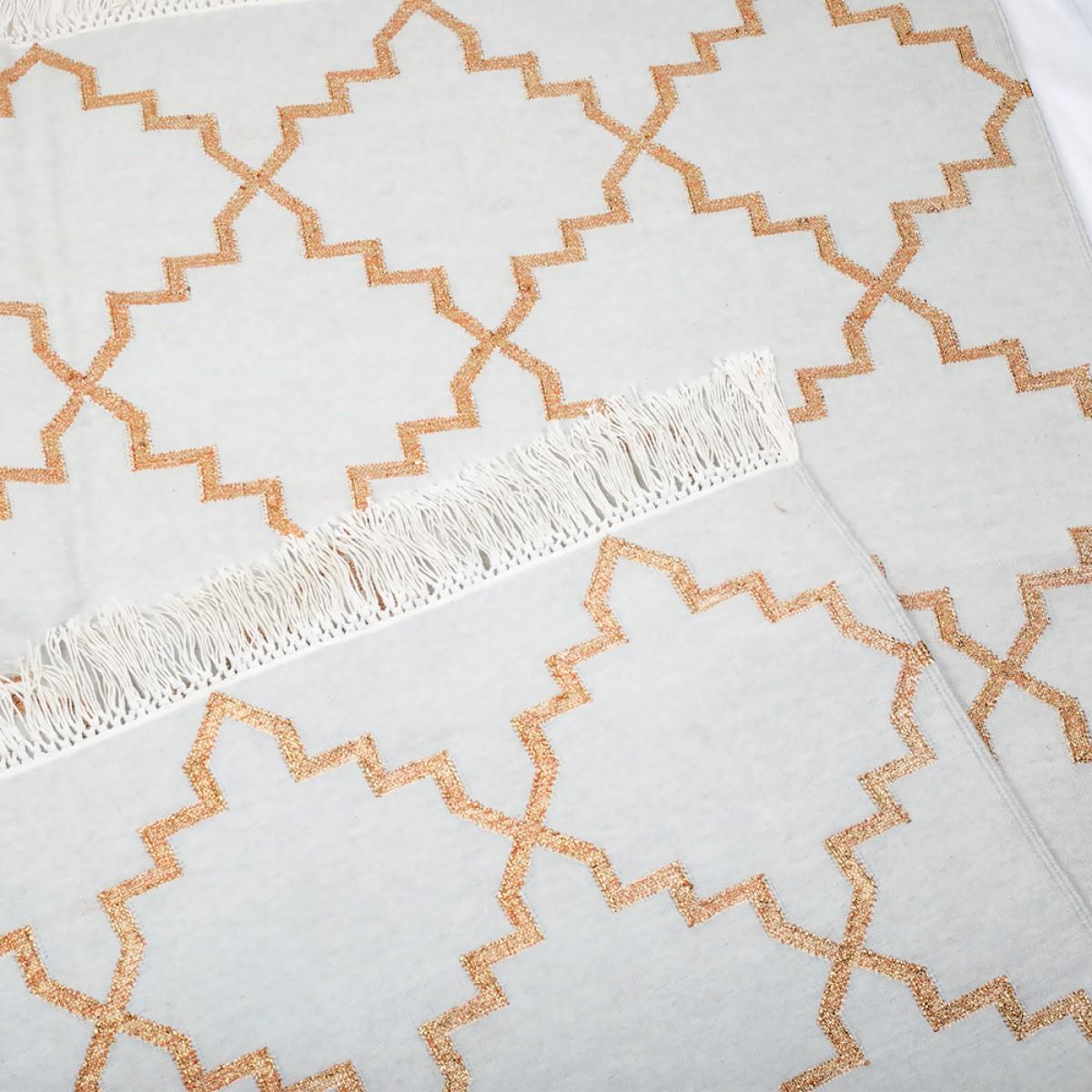 Cotton Floor Rugs - Pale Grey & Gold Zari