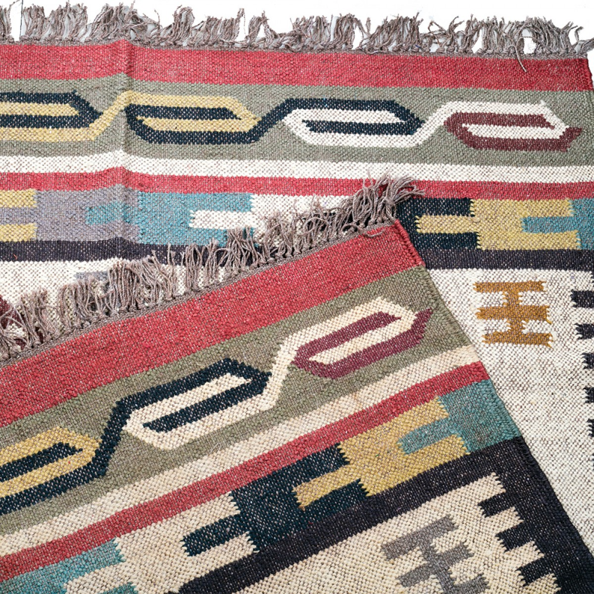 Jute Kilim Floor Rugs - Natural Multi Color