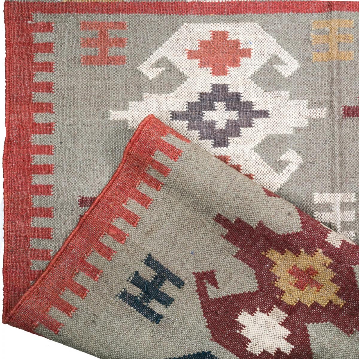 Jute Kilim Floor Rugs - Beige Multi Color