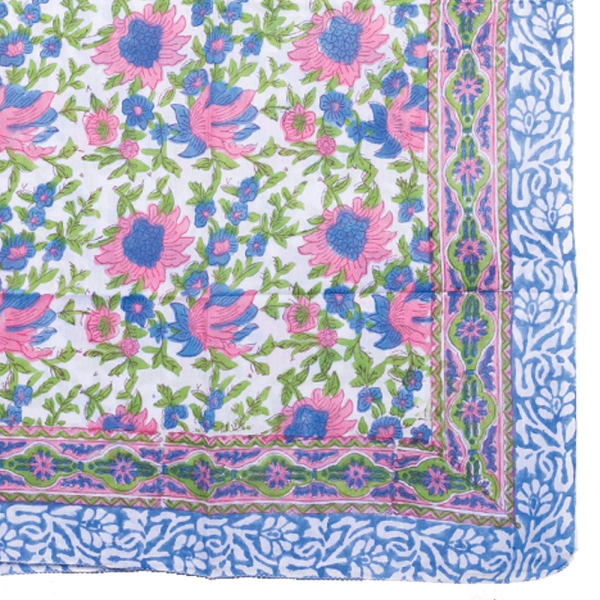 Hand Block Printed Sarongs - Carnation Pink Floral