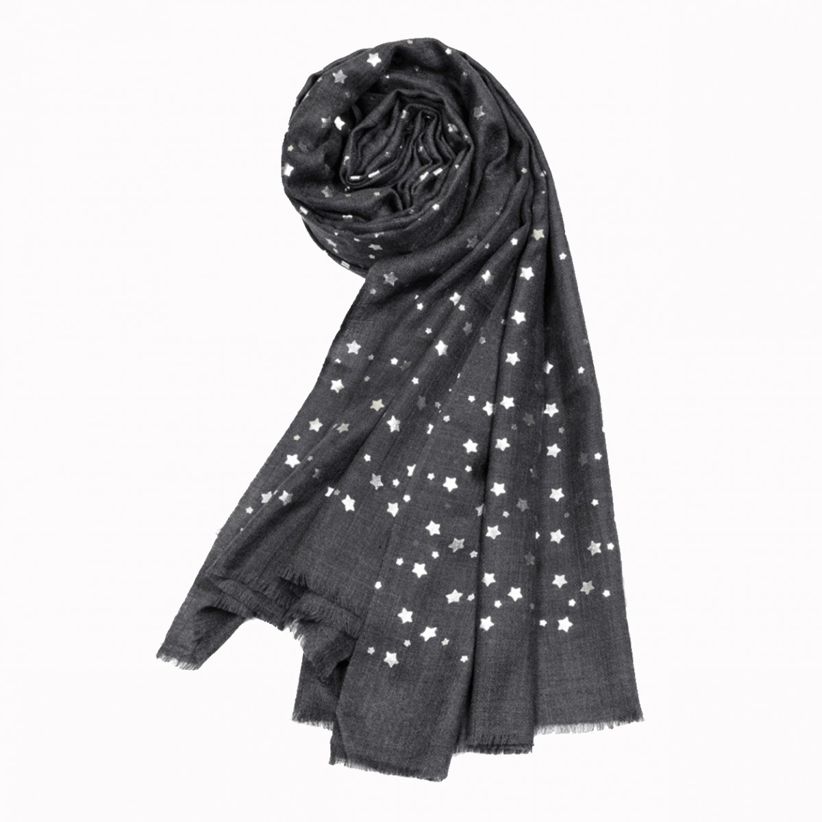 Agent grey star merino wool shawl