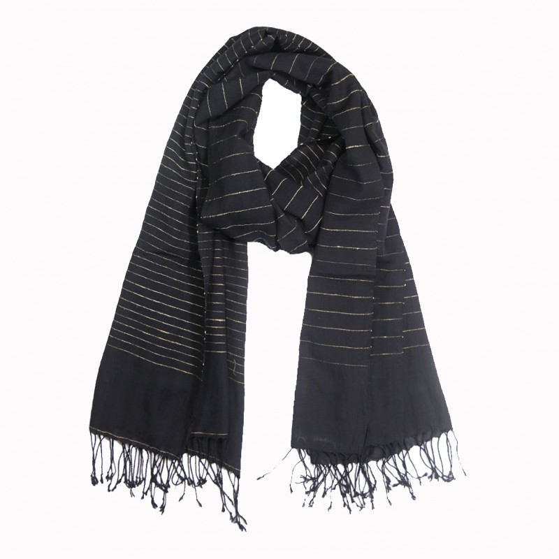 Hand Loom Woven Tussar Silk Cotton Scarf - Black
