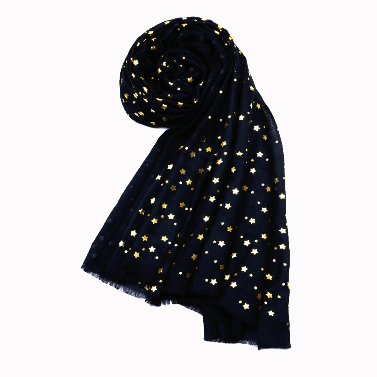 Merino Wool Star Shawl -  Black