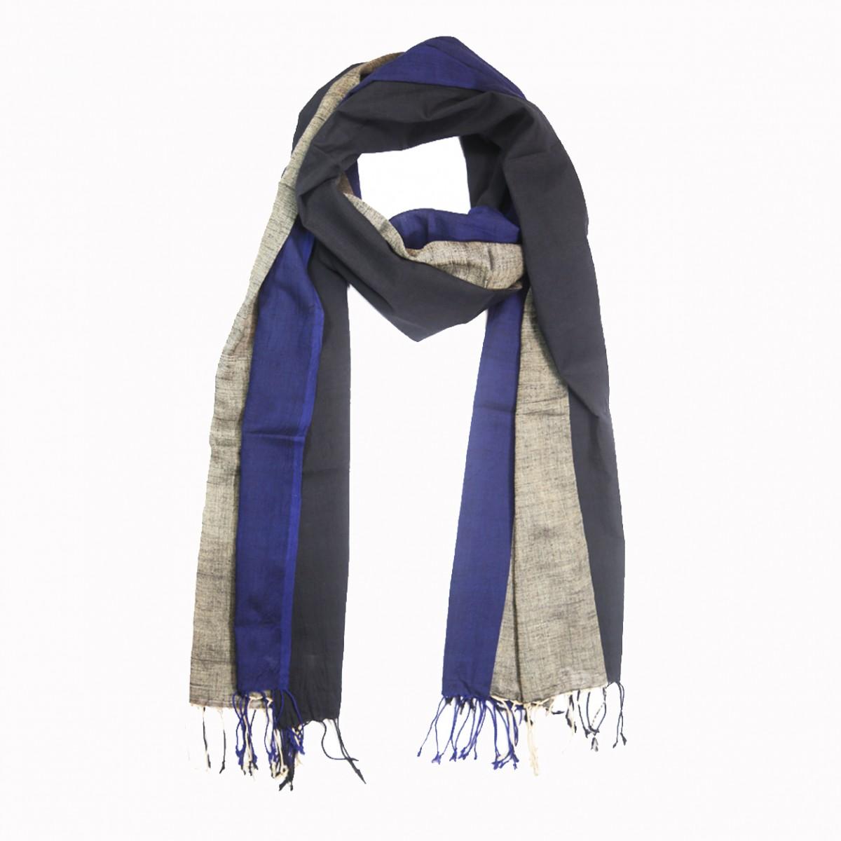 Handloom woven panels cotton scarf