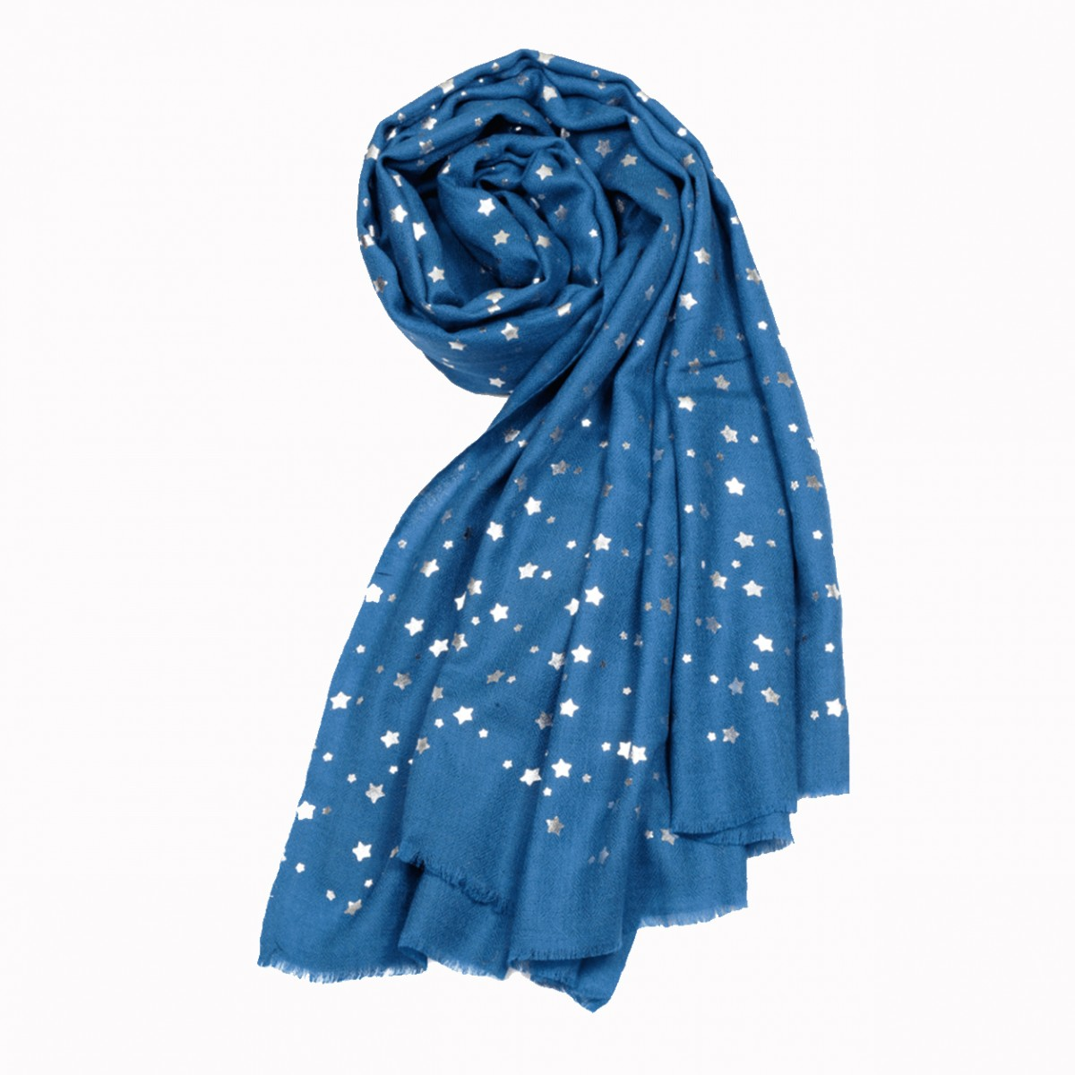 Aegean blue star merino wool shawl