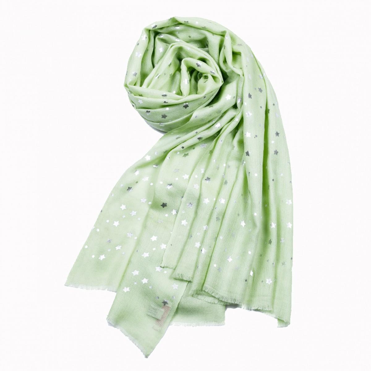 Merino Wool Star Shawl - Lime Green