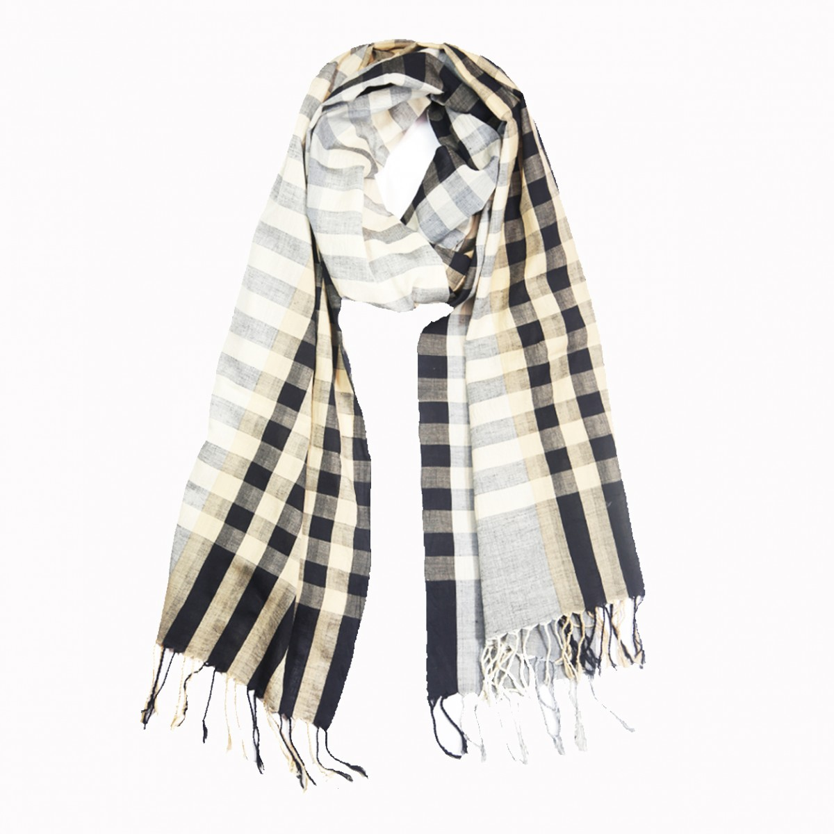 Hand Loom Woven  Cotton Scarf - White and Grey