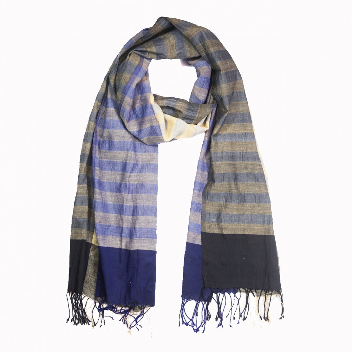 Handloom woven beige stripes cotton scarf