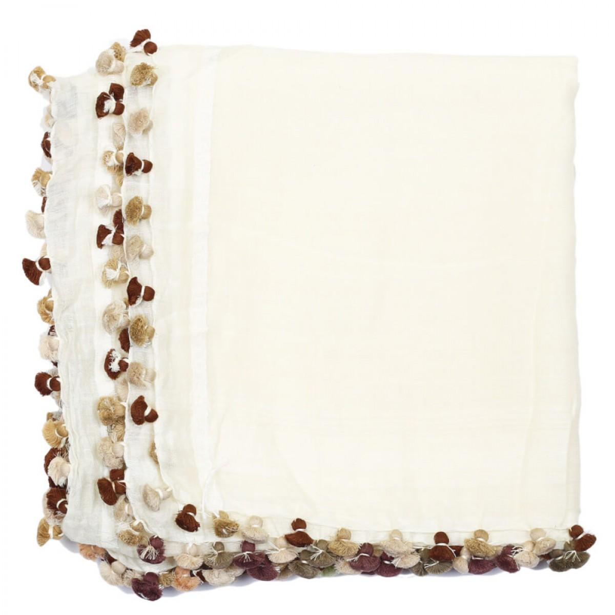 Summer Cotton Scarf - White Dove