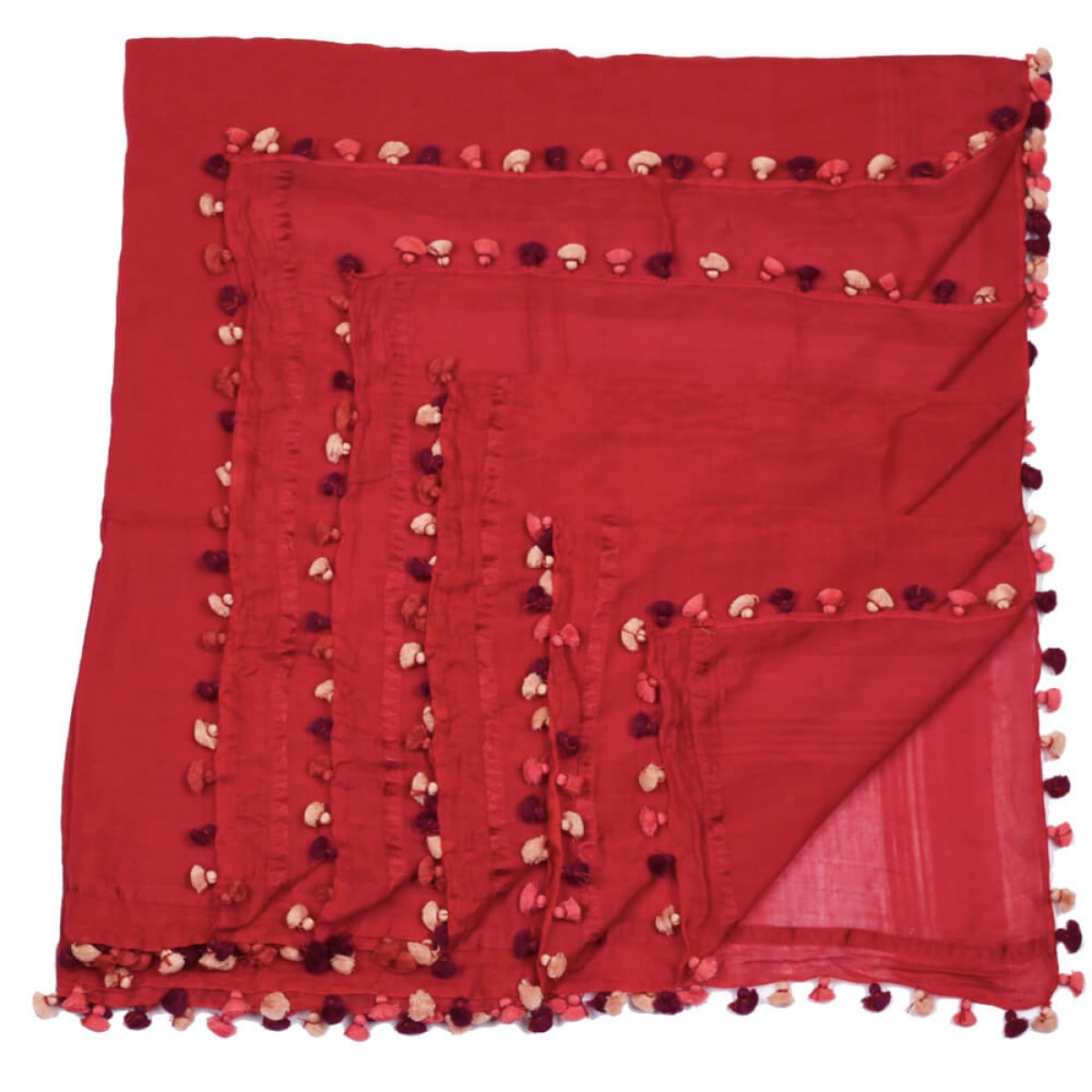 Summer Cotton Scarf - Maroon