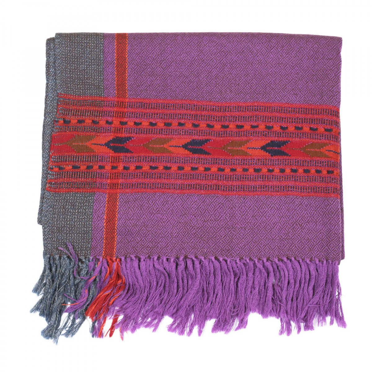 Himalayan Vibes Woolen Stole - Purple