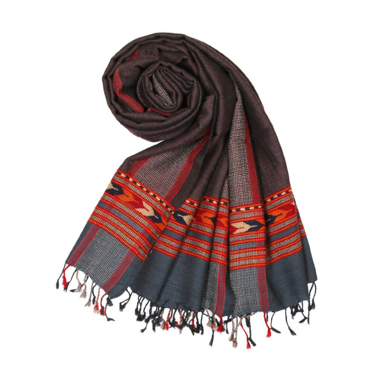 Himalayan Vibes Woolen Stole - Grey Check