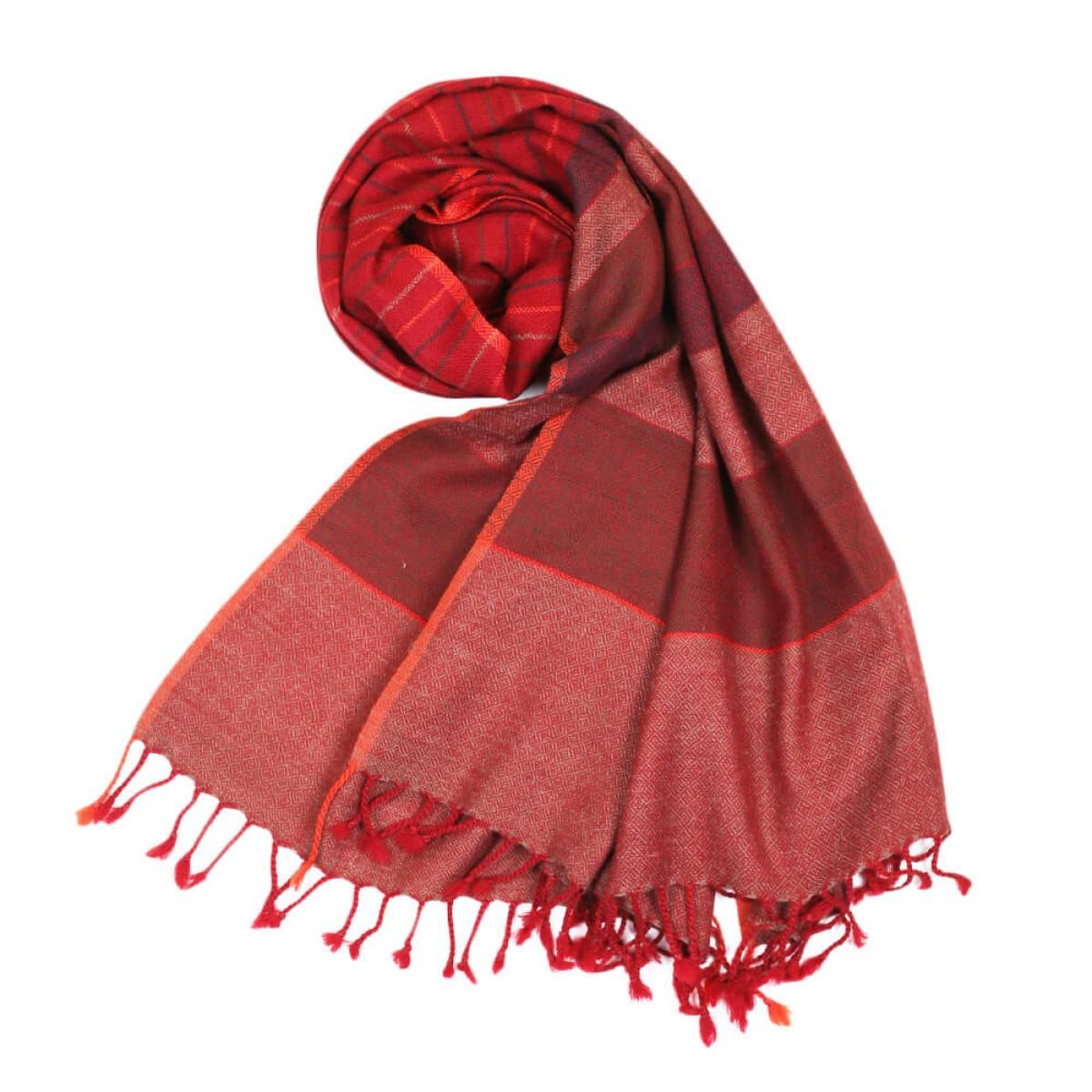 Himalayan Vibes Woolen Stole - Maroon & Orange