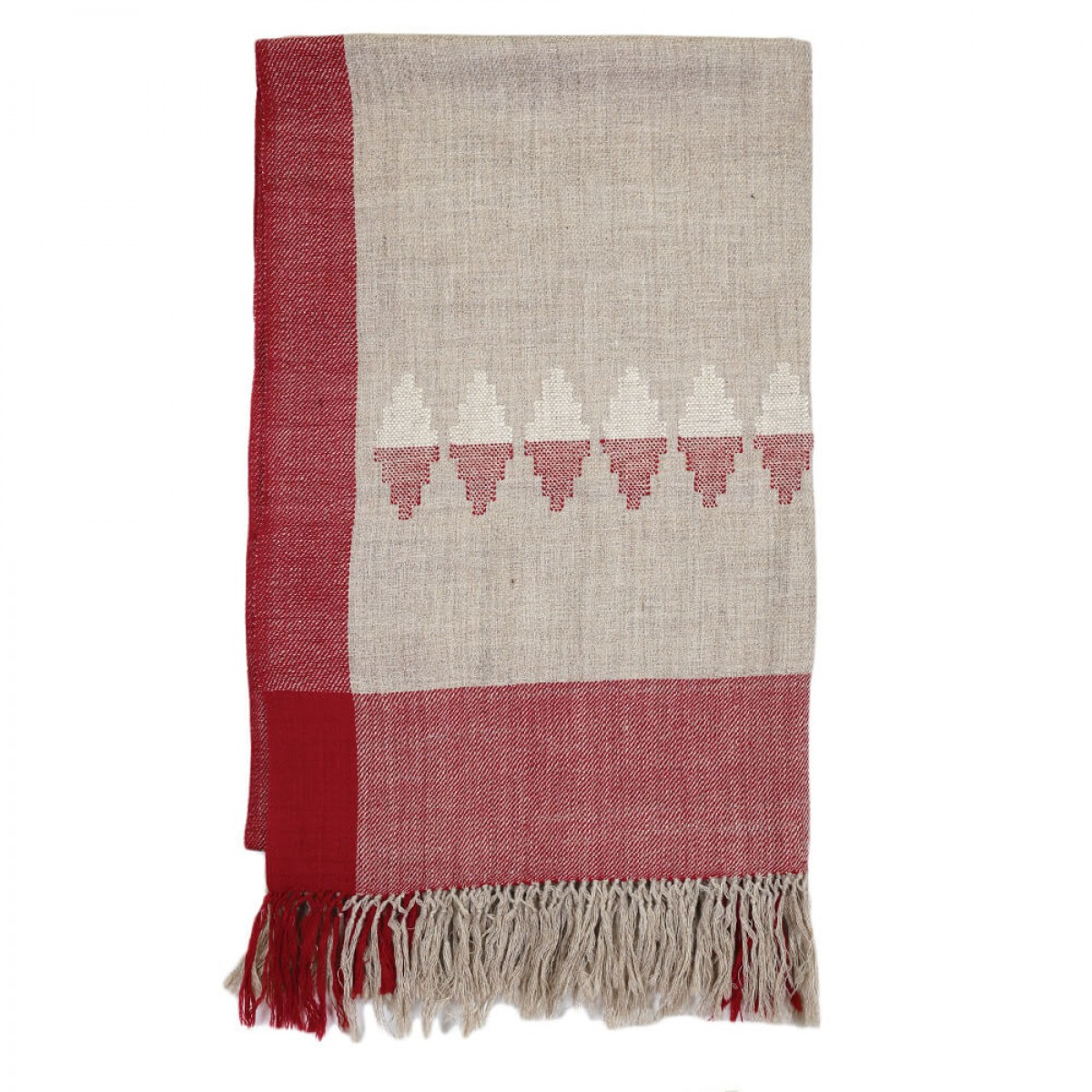 Himalayan Vibes Woolen Shawl - Natural Red