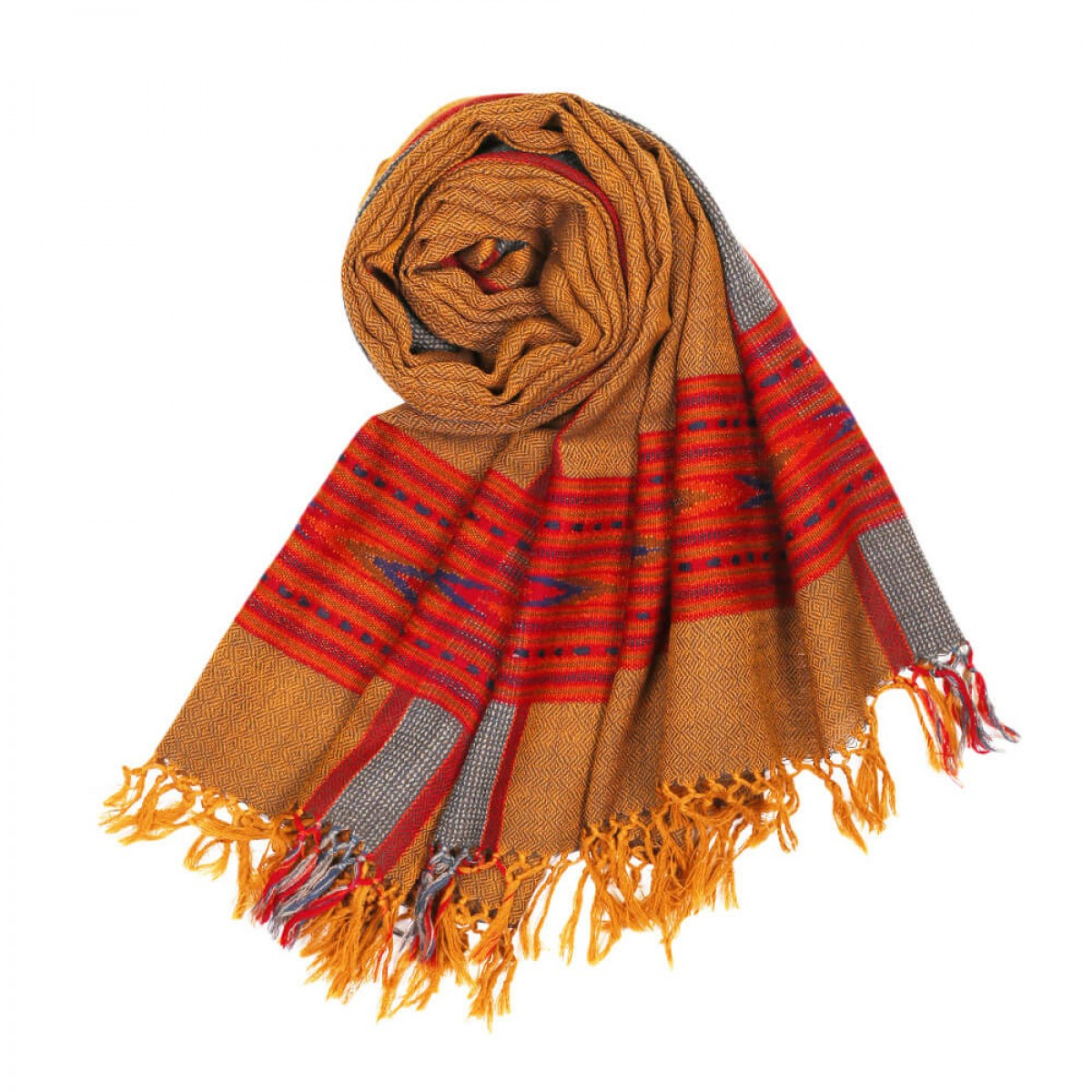 Himalayan Vibes Woolen Stole - Gold & Red