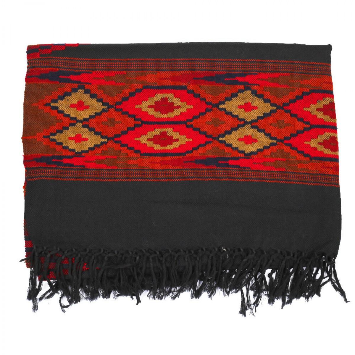 Himalayan Vibes Woolen Scarf Black & Orange