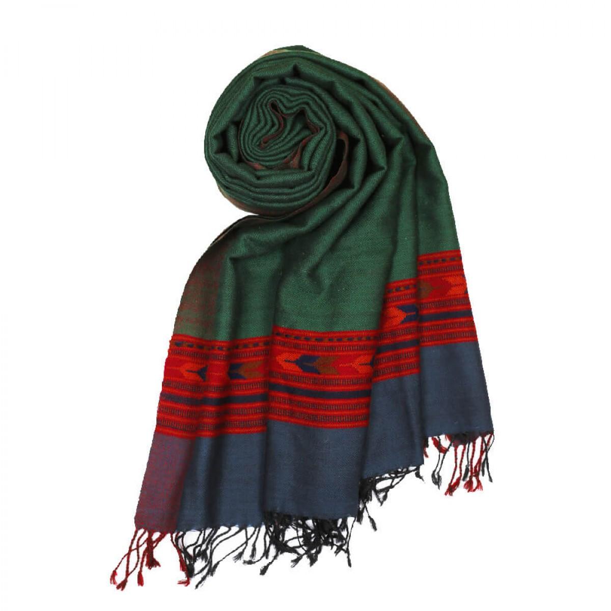 Himalayan Vibes Woolen Shawl - Green & Blue