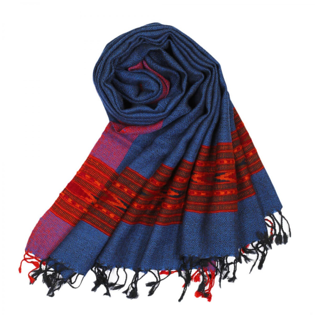 Himalayan Vibes Woolen Stole -  Blue