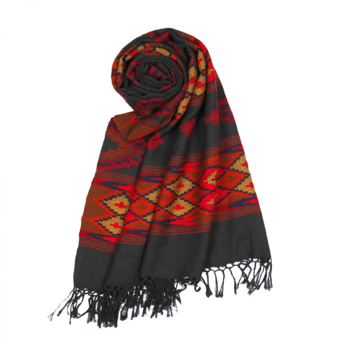 Himalayan Vibes Woolen Stole Black & Orange
