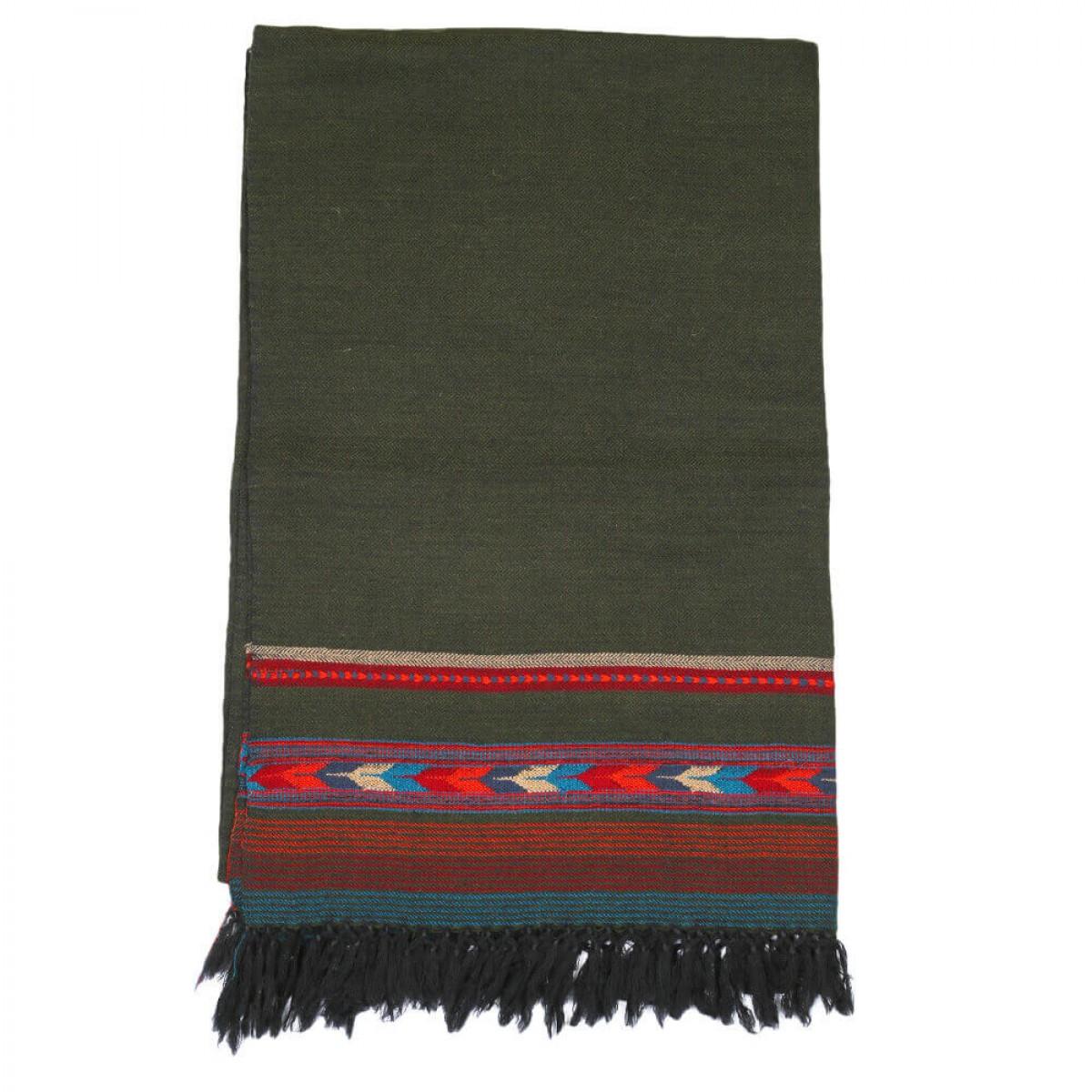 Himalayan Vibes Woolen Scarf- Dark Green
