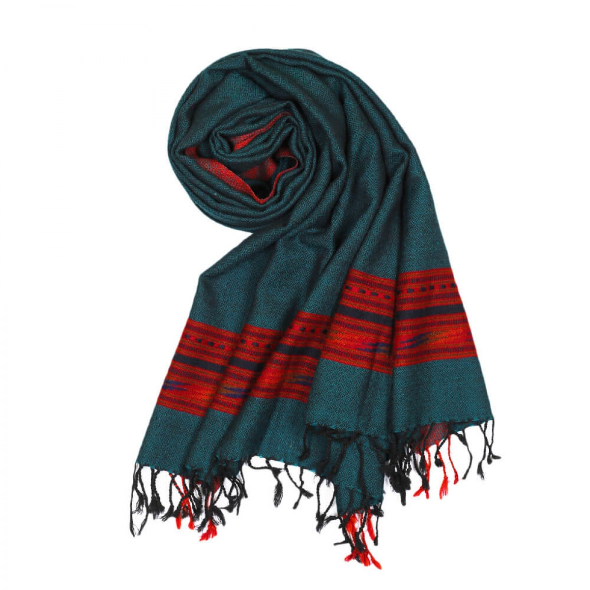 Himalayan Vibes Woolen Stole - Teal & Red