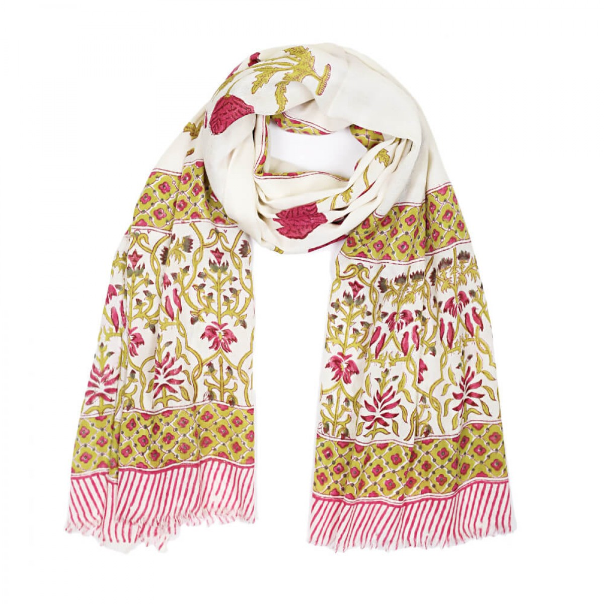 Block Printed Woolen Shawl - Rose