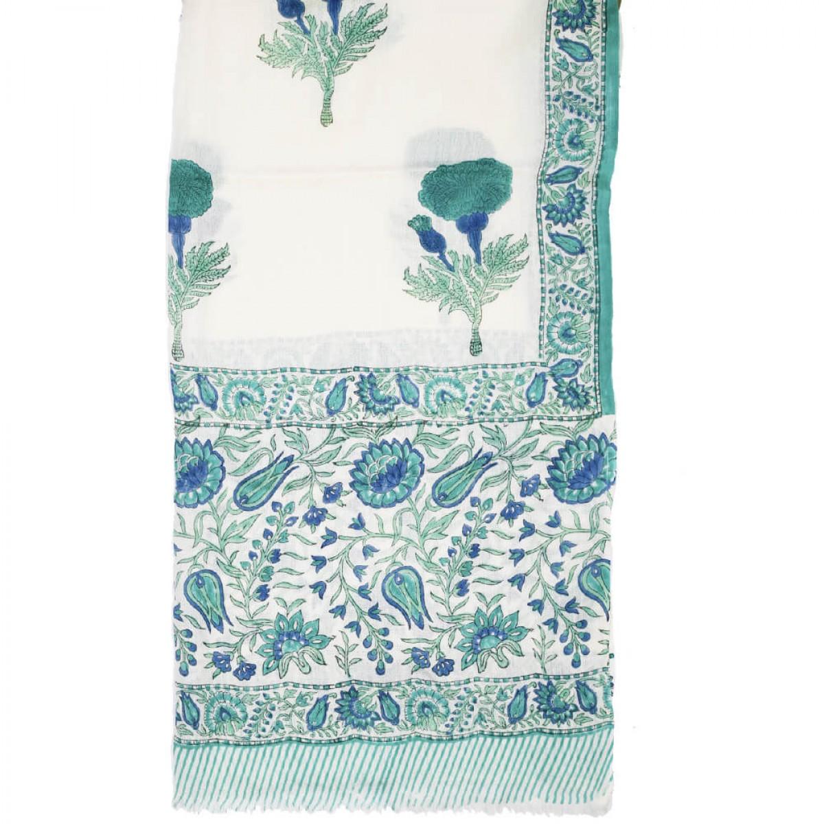 Block Printed Woolen Shawl - Cerulean