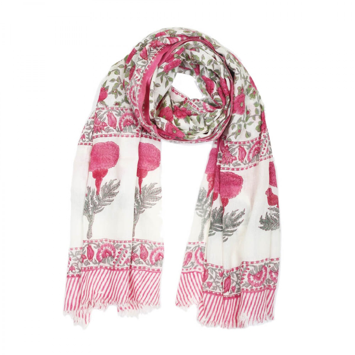 Block Printed Woolen Shawl - Rose Red
