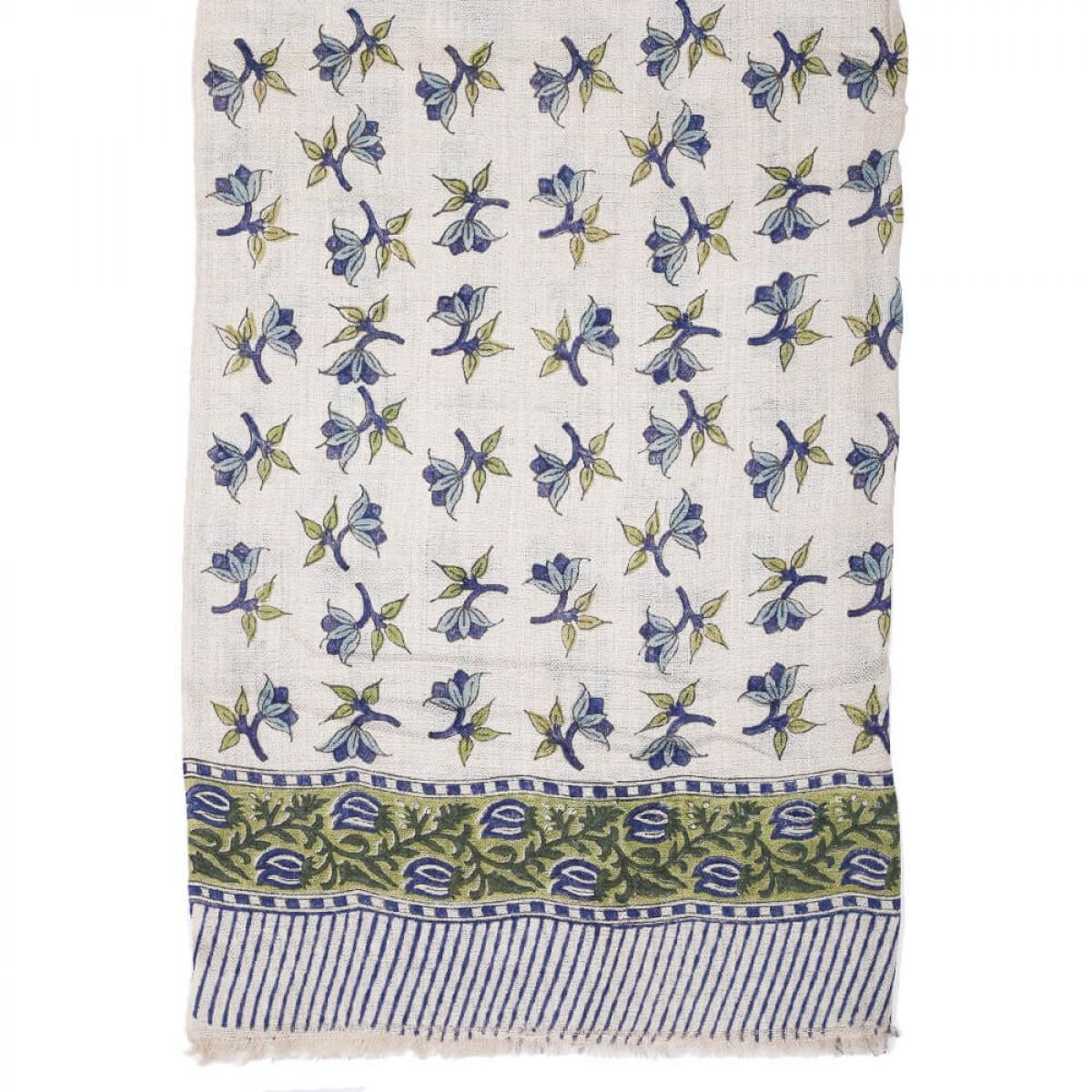 Block Printed Woolen Shawl - Aegean