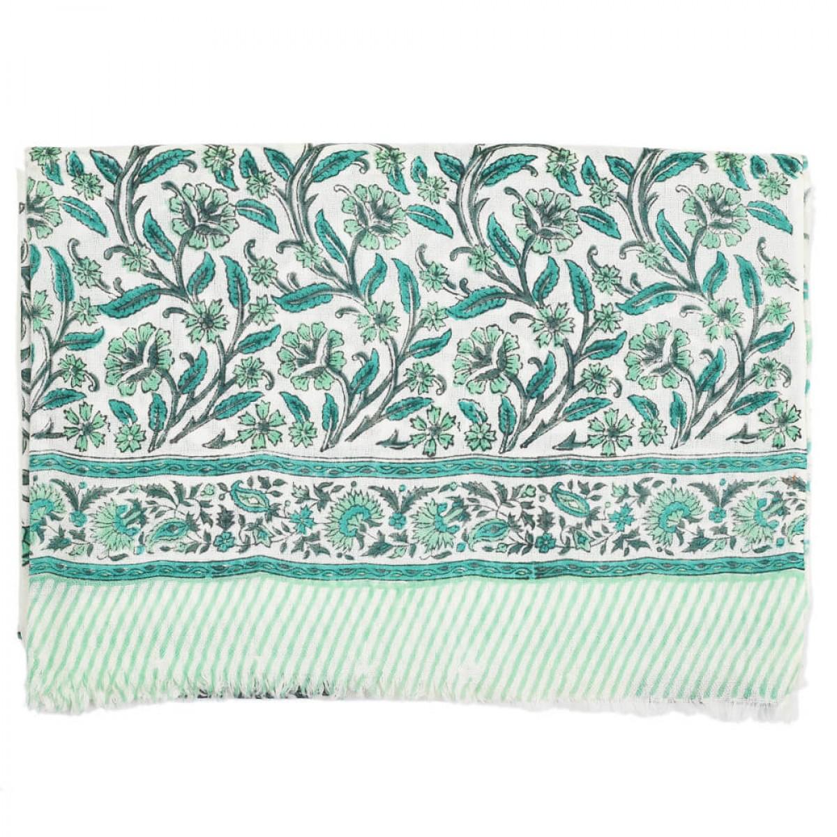 Block Printed Woolen Shawl - Teal