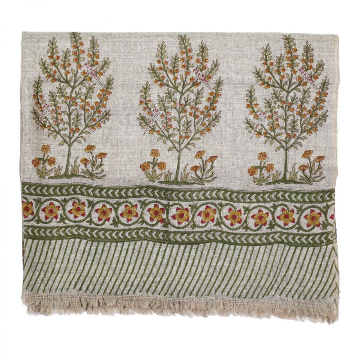Block Printed Woolen Shawl - Basil