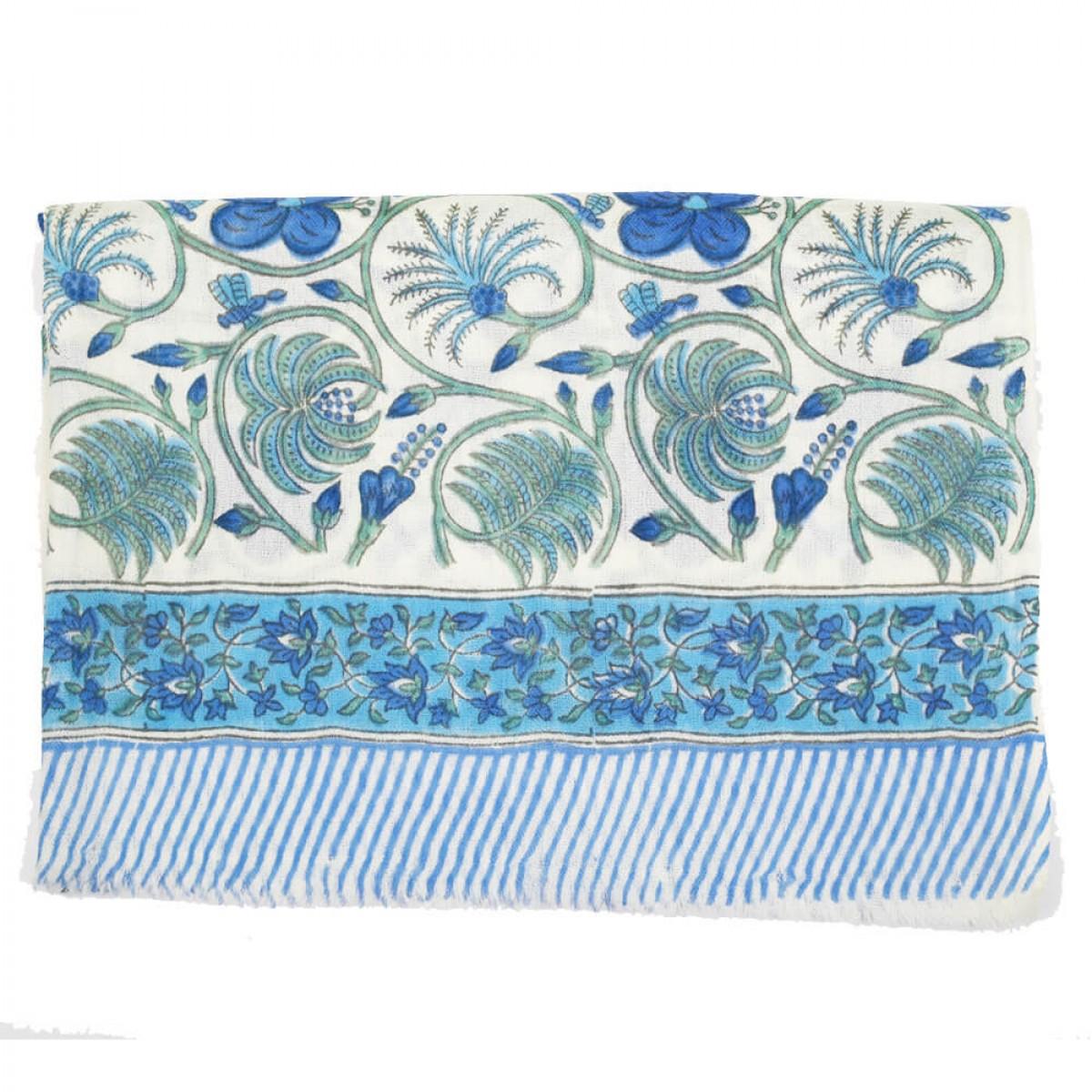 Block Printed Woolen Shawl - Cobalt