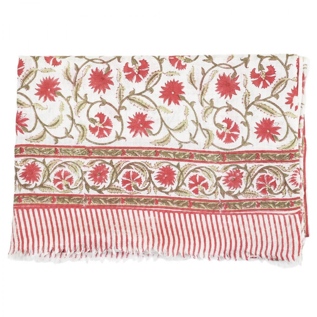 Block Printed Woolen Shawl - Apple Red