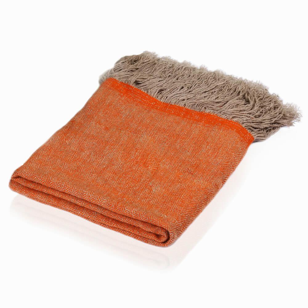 Cashmere throw in herringbone weave - mandarine