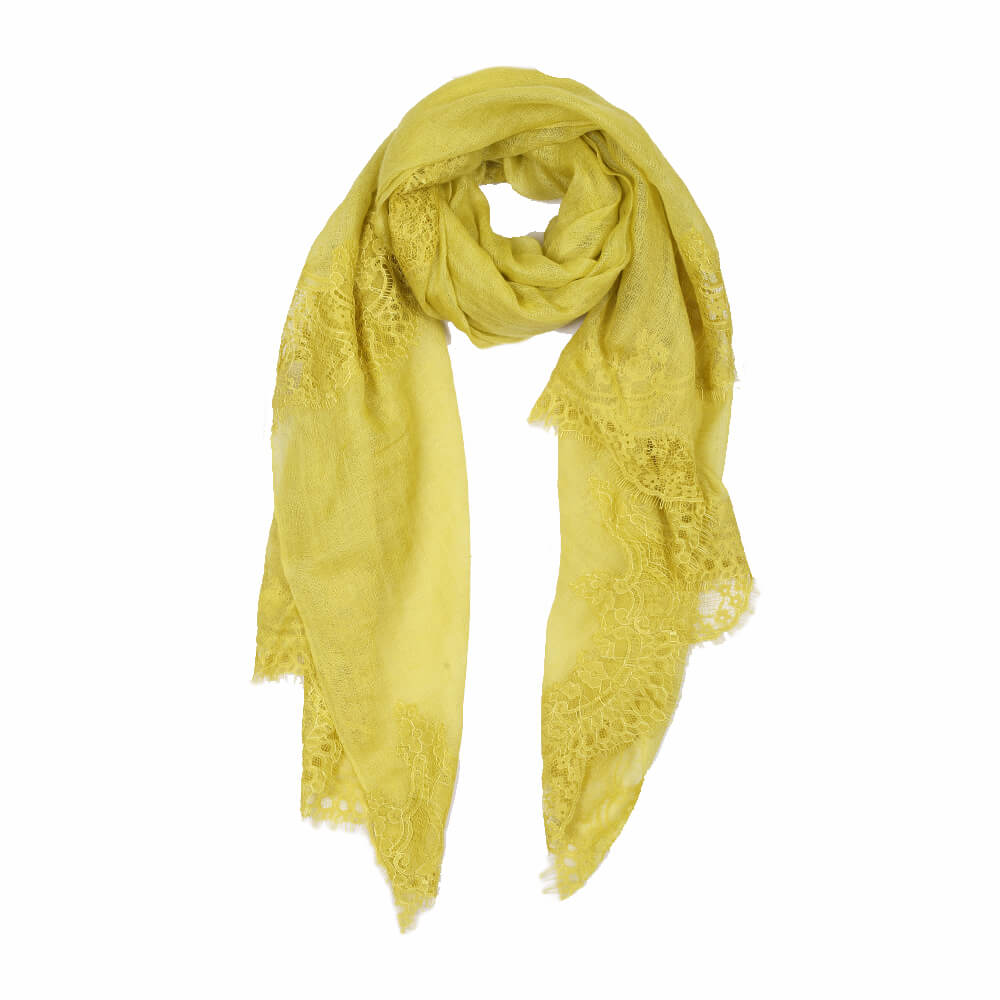 Lime green lace pashmina scarf