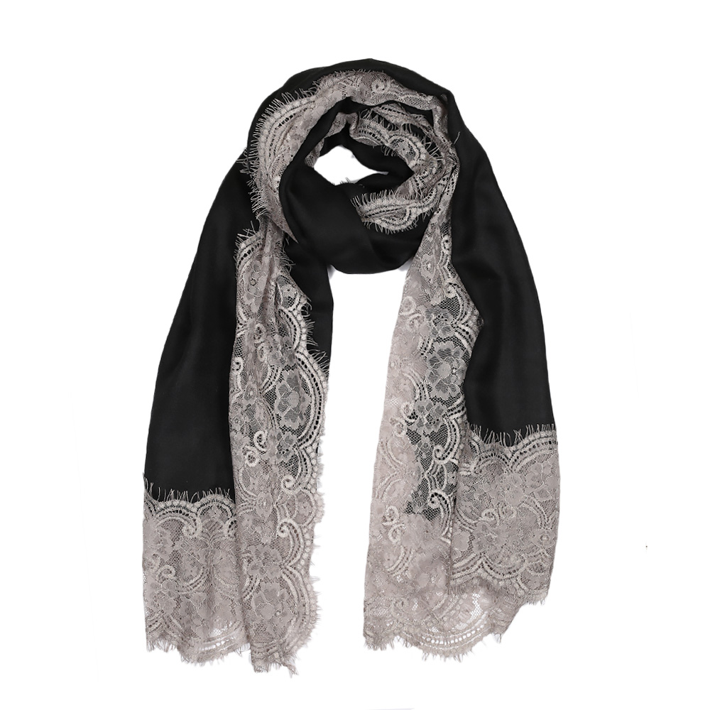 Lace Twill Pashmina Scarf All Over - Black
