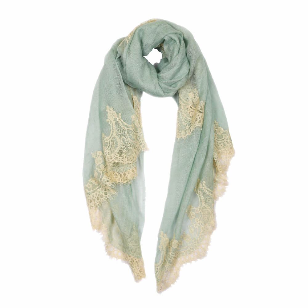 Mint green lace pashmina scarf