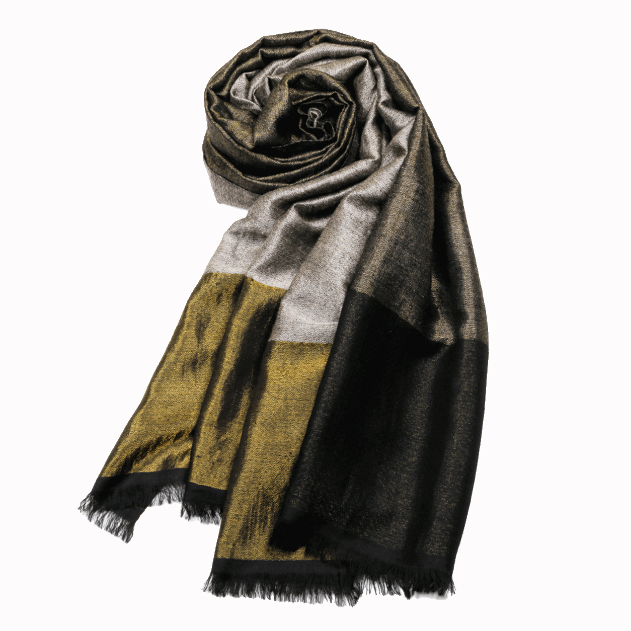 Metallic Dorukha Pashmina Stole - Black and Silver