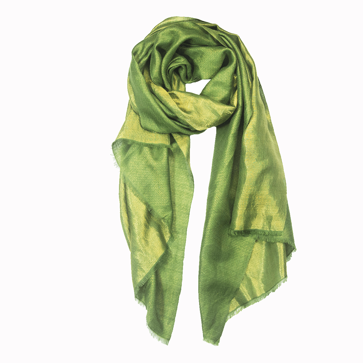 Metallic Reversible Pashmina Stole - Grass Green