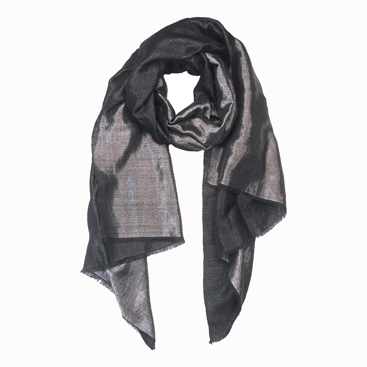 Metallic Reversible Pashmina Stole -  Black and Silver