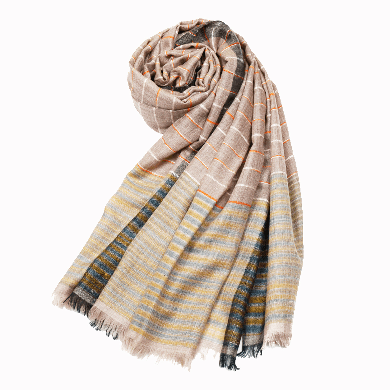Pattern Pashmina Stole - Natural Stripes