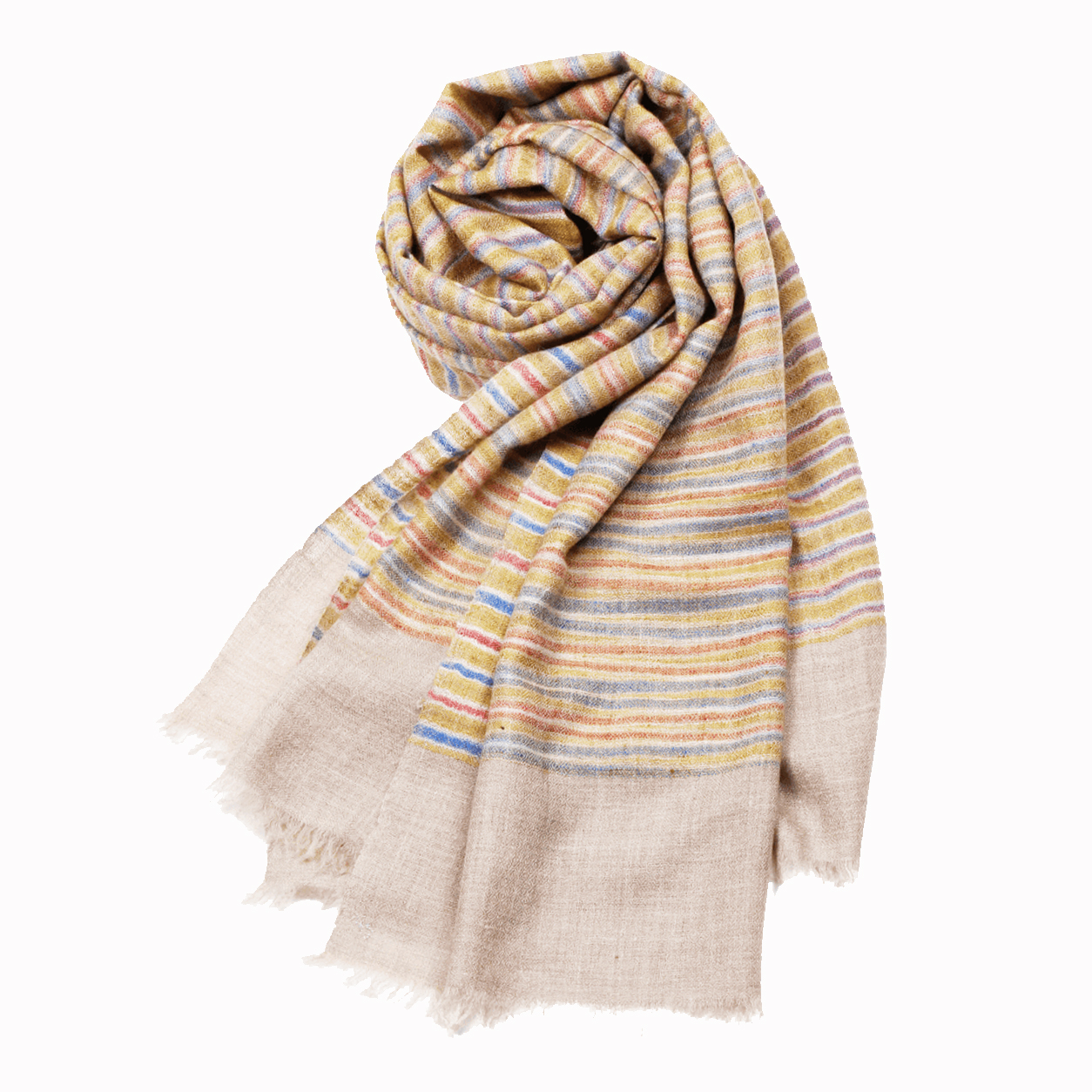 Pattern Rubin Pashmina Stole - Natural Stripes