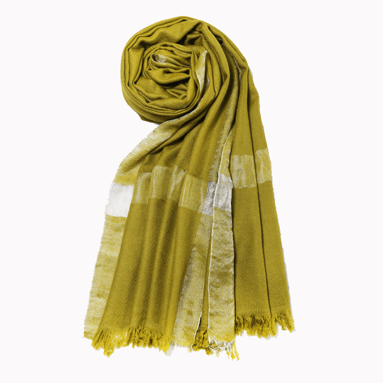 Zari Pashmina Stole - Sphene Yellow