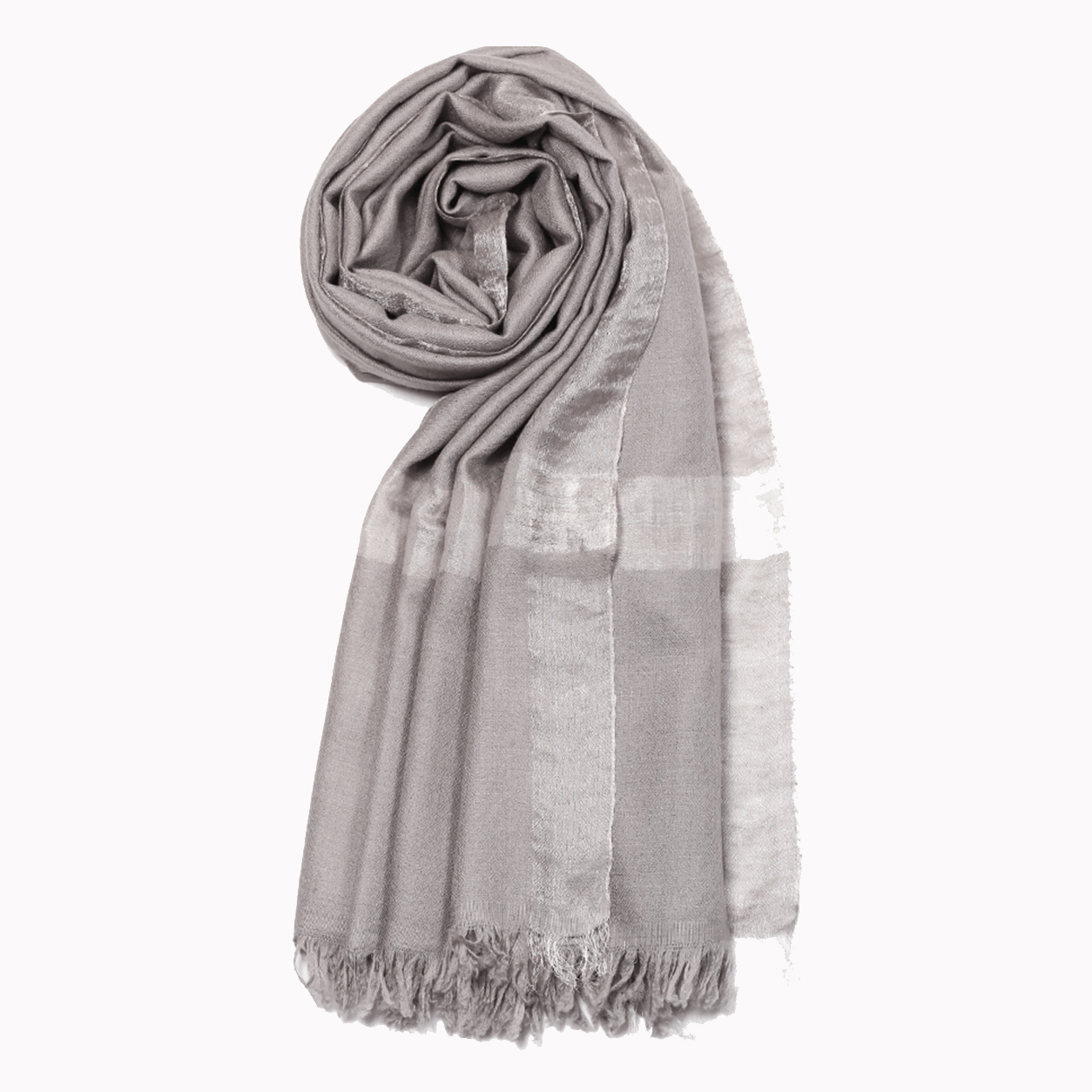 Metallic (Zari) Pashmina Stole - Spinel Grey