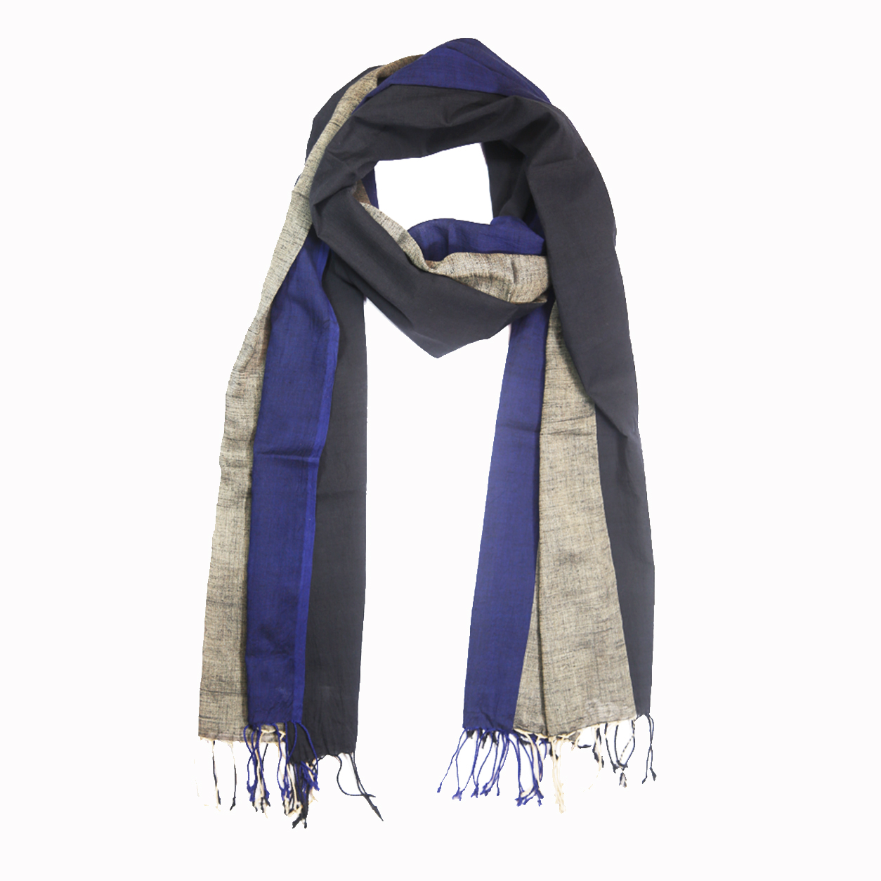 Hand Loom Woven Panels Cotton Scarf - Blue and Black